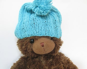 Cotton silk baby beanie hat turquoise blue