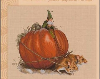 Pumpkin Harvest : Lena Lawson artwork by Pascal Moguerou counted cross stitch patterns embroidery The Cottage Needle