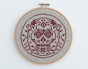 PDF Sugar Skull Halloween cross stitch pattern by Dark Crosses at thecottageneedle.com Day of the Dead hoop wall art embroidery