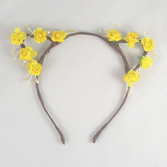 Yellow flower crown, Floral crown, Cat ears, Bohemian, Anime, Cosplay, Cat ear headband, Cat ears headband, Anime cat ears, Festival