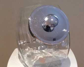 Vintage Glass Chrome Lidded Apothecary Candy Jar Container