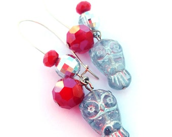 Silver and red earrings, owl earrings - owl beads, glass gemstones - Owl jewelry, forest, woodland jewerly - red, silver, silver owls