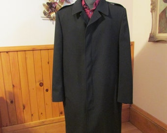Mens Quality Wool All Weather Coat Removable Liner Color Dark Blue Hidden Button Up Size Extra Large