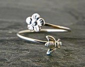 Sterling silver stacking tiny bee ring, flower ring, silver women's jewelry, serendipity handcrafted