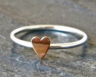 Mothers Day Ring - Cute Rings - Heart Ring Stacking - Mothers Jewelry - Promise Ring for Her - Love Ring - Tiny Heart Ring - Girls