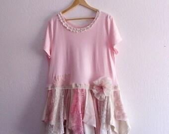 FREE U.S. SHIPPINGRomantic Bohemian Tattered Dress. Plus Size 1x, 2x