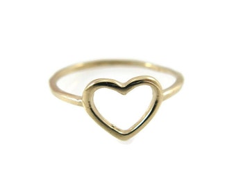 14k Yellow gold heart ring. heart gold ring. heart ring. gold ring. dainty gold ring. gift for her. romantic gold ring.  (gr9416-1755)