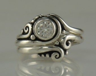 Sterling Silver Moissanite Wedding Set- One of a Kind