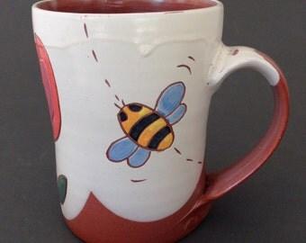 Bee Mug Earthenware OOAK