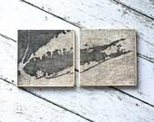 Long Island Map Coasters, Set of Edited LI Map Coasters, North Fork Long Island, The Hamptons, Nautical Decor, Beach Decor,Long Island NY