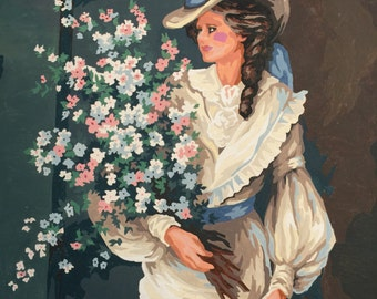 Victorian Lady Paint By Number - Women Flower Bouquet Painting  No.105 cs