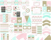 One First Birthday girl pink mint gold PRINTABLE Deluxe Birthday Package chevron polka dot glitter 1st birthday - 1031