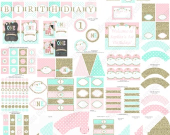 Girls First Birthday, pink mint gold, Pink gold 1st birthday, PRINTABLE Deluxe Package, first birthday decorations, glitter  birthday, 1031