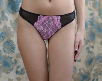 Women Sleepwear & Intimates Panties Handmade Lingerie  The Darling Pink and Black Lacey Panties Made to Order