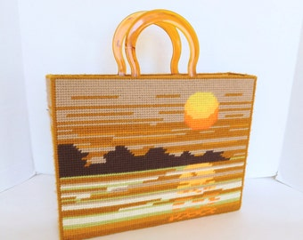 Needlepoint Plastic Canvas Tote Bag with Faux Tortoiseshell Handles Sunset Ocean Mountains Scene