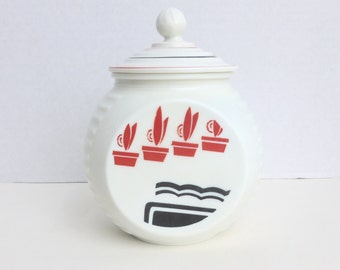 Anchor Hocking Vitrock Glass Grease Jar Canister with Lid Red and Black on White Art Deco Flower Pots Motif