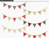 Christmas Bunting Clipart,  Christmas Bunting Clip Art, Digital Christmas Banner, Christmas Clip Art, Christmas Graphics, Digital Download