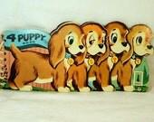 4 Puppy Book Hermina 1956 Robert Fisher Children's Dog Board Book Vintage 1950s Original Four Puppy