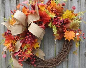 Fall Door Wreath, Fall Wreath, Fall Burlap Wreath, Harvest Berries Wreath, Burlap wreath, Grapevine Wreath