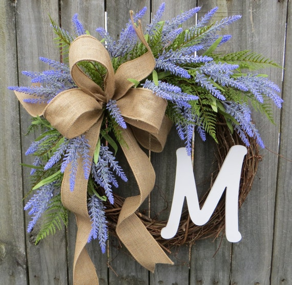 Wreath for Spring and Summer with Lavender Blooms, Burlap, and a Monogram