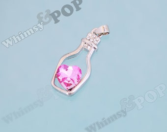 1 - SALE Heart Pink Bottle Rhinestone Pendant Charm, Heart Bottle Charm, Heart Charm, 32mm x 15mm (R8-167)