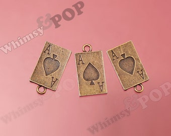 Antique Bronze Ace of Spades Playing Card Charm, Ace Card Charm, Gambling Charms, Vegas Charms, Casino Charms 28mm x 15mm (R9-086)