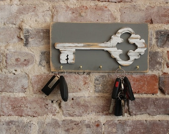 Vintage Key Wooden Wall Art with Hooks, Distressed Antique White Bead Board, Modern Rustic
