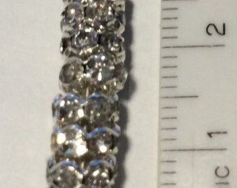 Crystal Rhinestone Rhodium Silver Rondelles 6mm QTY - 10