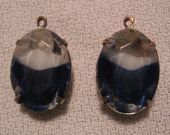 Vintage Swarovski Blue White Crystal Rhinestones in Pendant Silver Ox Settings 18x13mm Qty-  2 ONLY LOT LEFT
