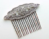 Art Deco Clear Pave Rhinestone Silver Bridal Hair Comb, Great Gatsby, Art Deco, Downton Abbey, Bridal Accesory, Rhinestone Comb GATSBY
