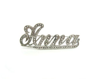 "Marcasite Jewelry, Sterling Silver Brooch. Personalized Name ""Anna"" Script Writing. Vintage 1930s 40s Art Deco Jewelry"