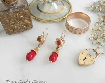 Victorian  14k gold and coral earrings, antique coral earrings,  Two Girls Gems