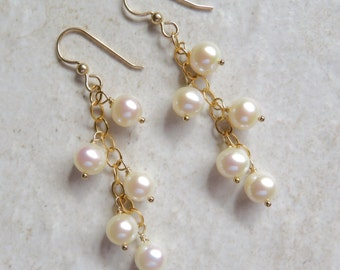 White Pearl Earrings, Freshwater Pearls, Elegant Gold Chain Dangle, Bridal Accessory, Wedding Jewelry,  Gift Idea, Holiday Fashion