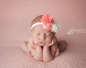 Coral and Cream Headband- newborns, babies, girls, women, photo prop