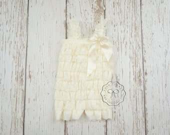 Ivory Petti lace Romper -  Ivory Lace Romper - Girls Romper - Baby Romper - Ruffle Romper- ivory romper- baptism outfit- christening outfit