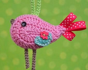 Crochet bird ornament/ pendant - pattern, DIY
