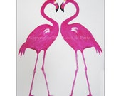 Fantasy Flamingo Painting, Original Artwork, Flamingo Heart, Acrylic Painting, Large Size, Gift for Her, Pink, Colorfull Wall Art, Bird Art