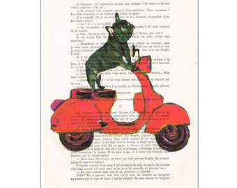 Bulldog On Moped - Bulldog print, doxie print Bulldog illustration Bulldog picture doxie decor gift for frenchie lover Digital Painting