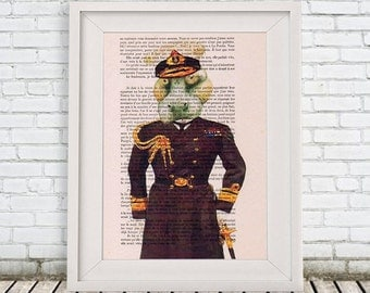 Hippopotamus Admiral Hippo illustration beautifully upcycled dictionary page book art print Animal art printed on Vintage Book sheet