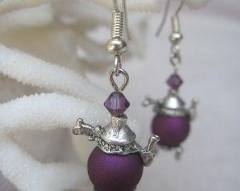 Satin Finish Pleasing Purple Silver Tea Pot Earrings