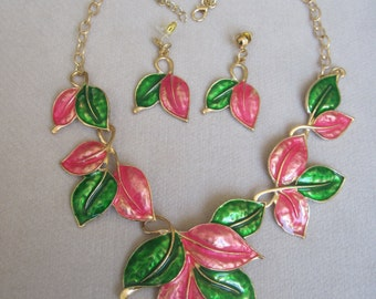 Precious Pink and Glorious Green Enameled Leaf Necklace Set