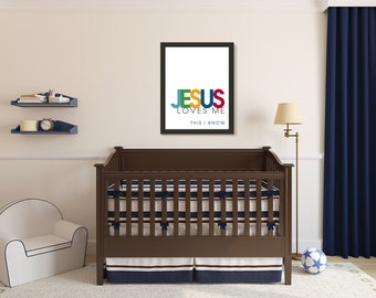 Jesus Loves Me, Christian Wall Art Print, Blue
