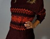 Vintage Italian Wool Sweater Dress S M L Winter Turtleneck Tunic Floral Maroon Boho Hippie Gypsy Club Kid Grunge Bohemian Hipster Festival