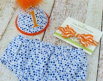 Boys First Birthday Outfit Cake Smash Diaper Cover Bow Tie and Party Hat Outfit in Blue Dinky Dots with Orange Accenting