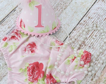 Girls First Birthday Cake Smash Outfit With Diaper Cover Party Hat & Necklace in Vintage Pink and White Polka Dot Floral