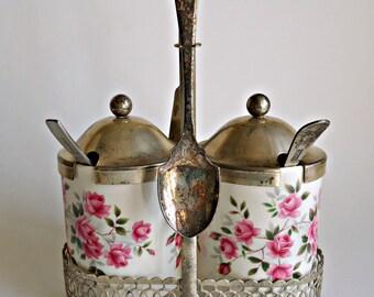 Wedgewood Condiment Set Vintage Enoch Silverplate Mustard Jam Pot