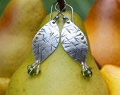 Silver Earrings: Fine Silver (.999 pure). Hand-Cut Organic Leaves. Hammered. Textured. Oxidized. Swarovski Crystal Dangles.