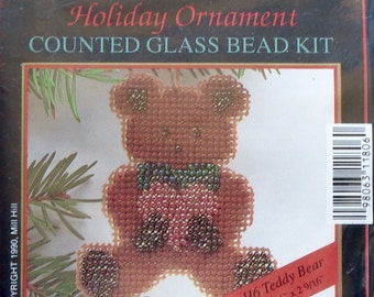 Mill Hill Beads Holiday Ornament TEDDY BEAR Counted Glass Bead Ornament Kit