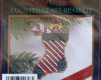 Mill Hill Beads Holiday Ornament CHRISTMAS STOCKING Counted Glass Bead Ornament Kit