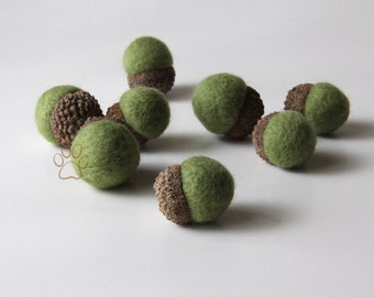 8 Sage Green Needle Felted Wool Acorns Woodland Forest Home Decor
